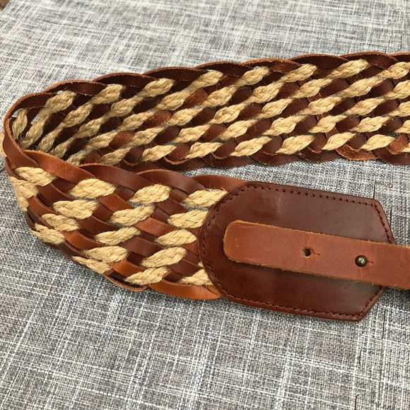 Tommy Bahama Accessories - Tommy Bahama leather & jute woven belt brown